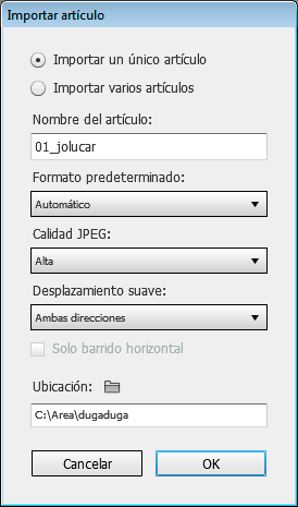 Ventana de Folio Builder de Adobe DPS.