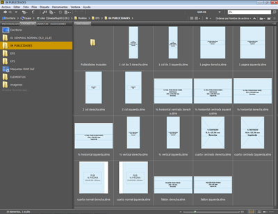 Un lote de recortes de InDesign en Bridge.